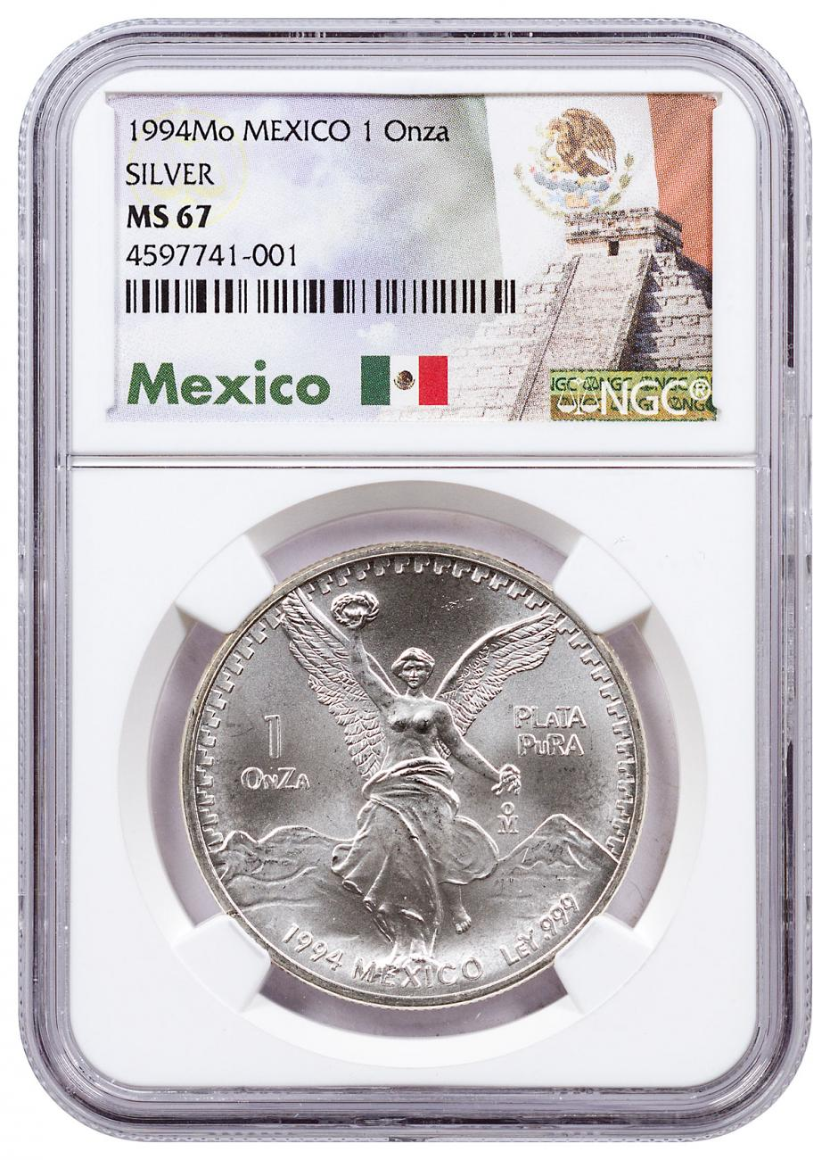 1994-Mo Mexico 1 oz Silver Libertad Coin NGC MS67 Exclusive Mexico Label