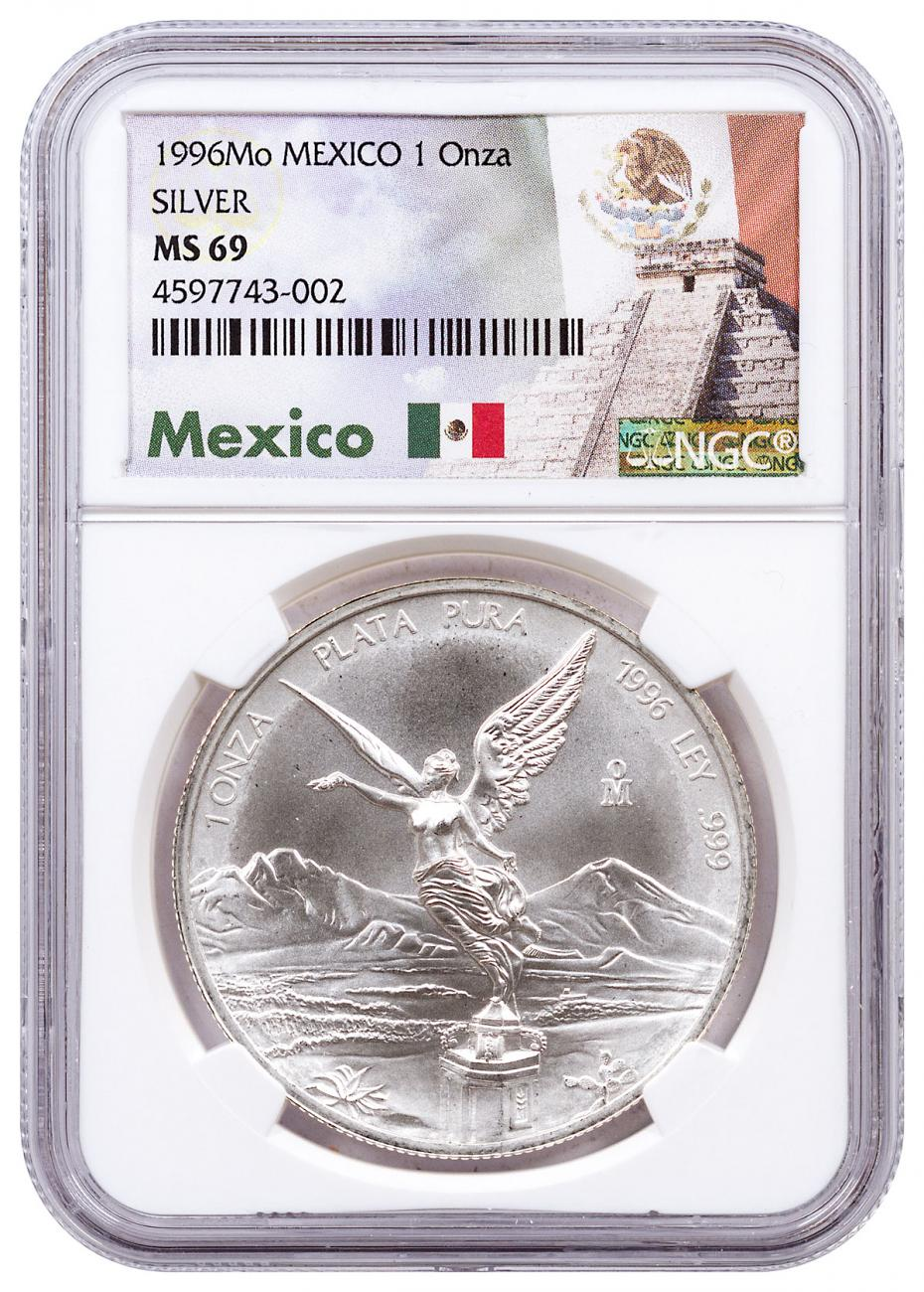 1996-Mo Mexico 1 oz Silver Libertad Coin NGC MS69 Exclusive Mexico Label