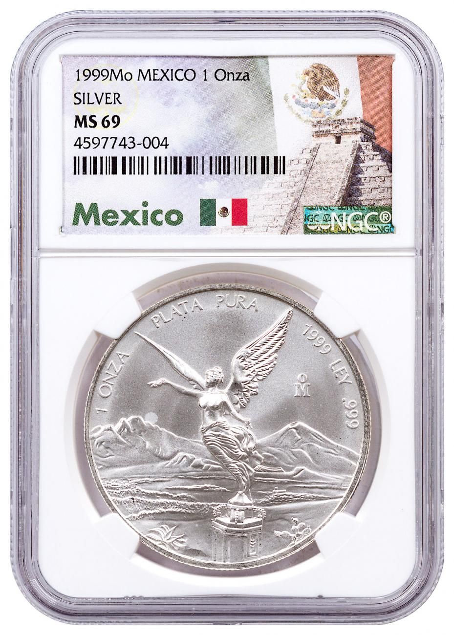 1999-Mo Mexico 1 oz Silver Libertad Coin NGC MS69 Exclusive Mexico Label