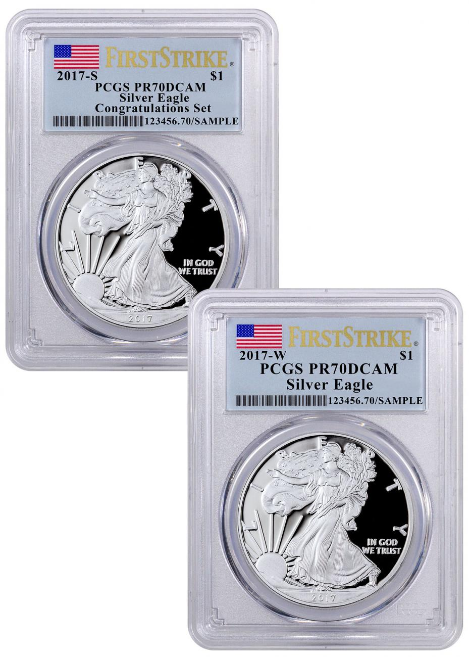 2017 W S Proof American Silver Eagle 2 Coin Set Pcgs Pr70