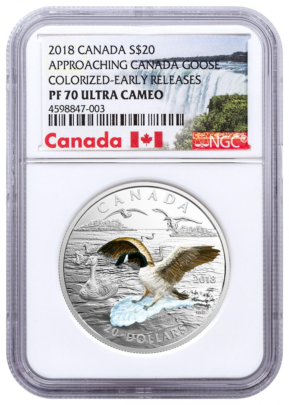 2018 Canada Three-Dimensional Series - Approaching Canadian Goose 1 oz Silver 3D Colorized Proof $20 Coin NGC PF70 UC ER Exclusive Canada Label