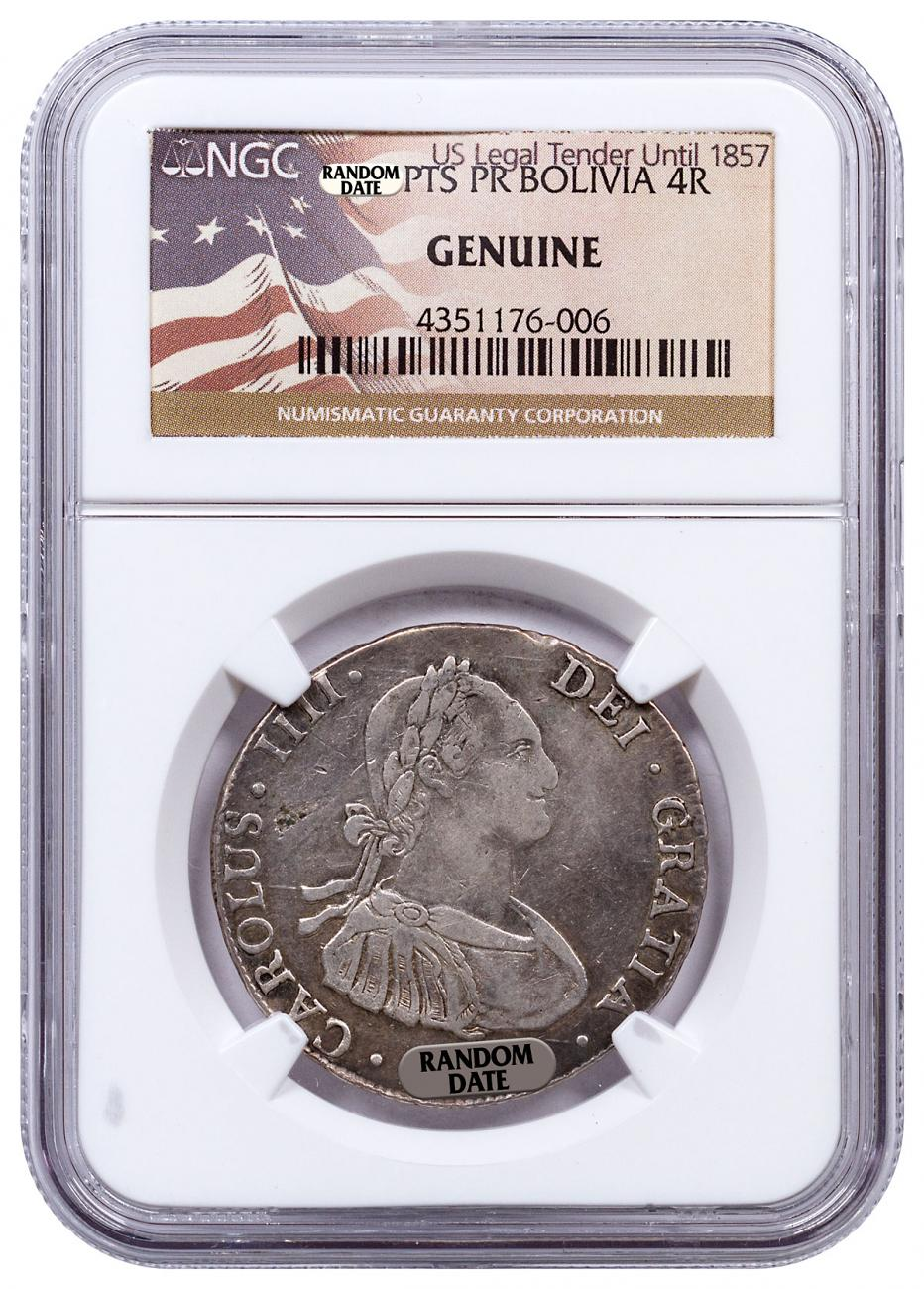 Random Date 1772-1825 Spain Silver 4 Reales - Portrait Type - NGC Genuine (US Legal Tender Until 1857 Label)