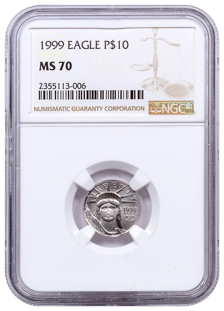 1999 1/10 oz Platinum American Eagle $10 NGC MS70