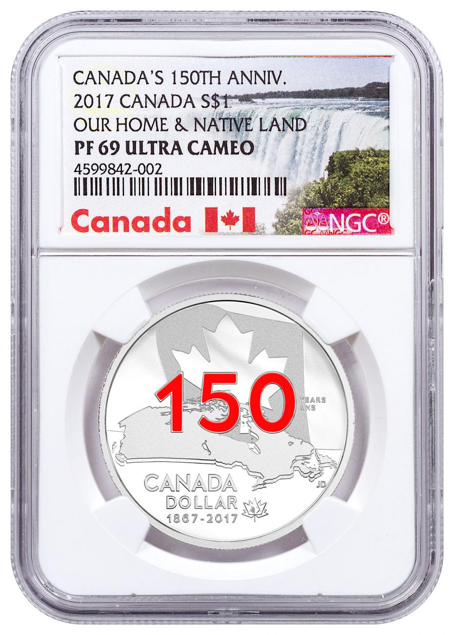 2017 Canada Celebrating Canada's 150th - Our Home and Native Land 3/4 oz Silver Enameled Proof $1 Coin NGC PF69 UC Exclusive Canada Label