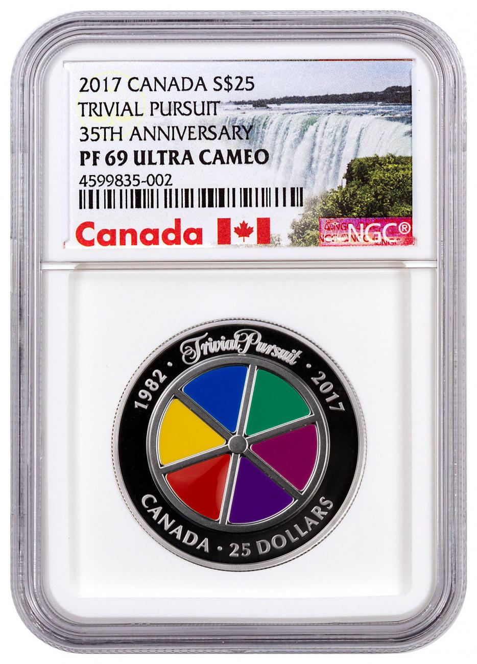 2017 Canada Trivial Pursuit 35th Anniversary Piedfort 1 oz Silver Enameled Proof $25 Coin NGC PF69 UC Exclusive Canada Label