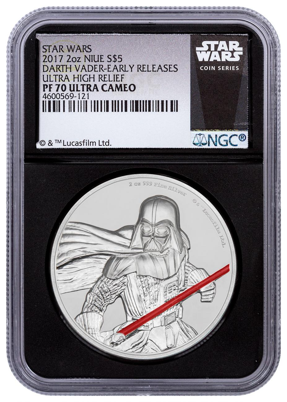 2017 Niue Star Wars - Darth Vader Ultra High Relief 2 oz Silver Colorized Proof $5 Coin NGC PF70 UC ER Black Core Holder Exclusive Star Wars Label