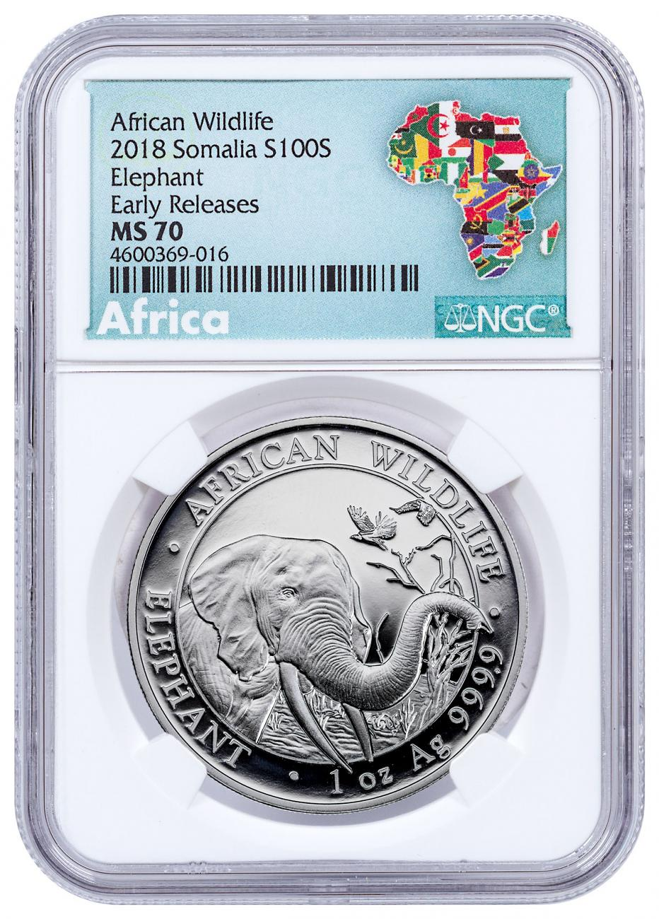 2018 Somalia 1 oz Silver Elephant Sh100 Coin NGC MS70 ER Exclusive Africa Label