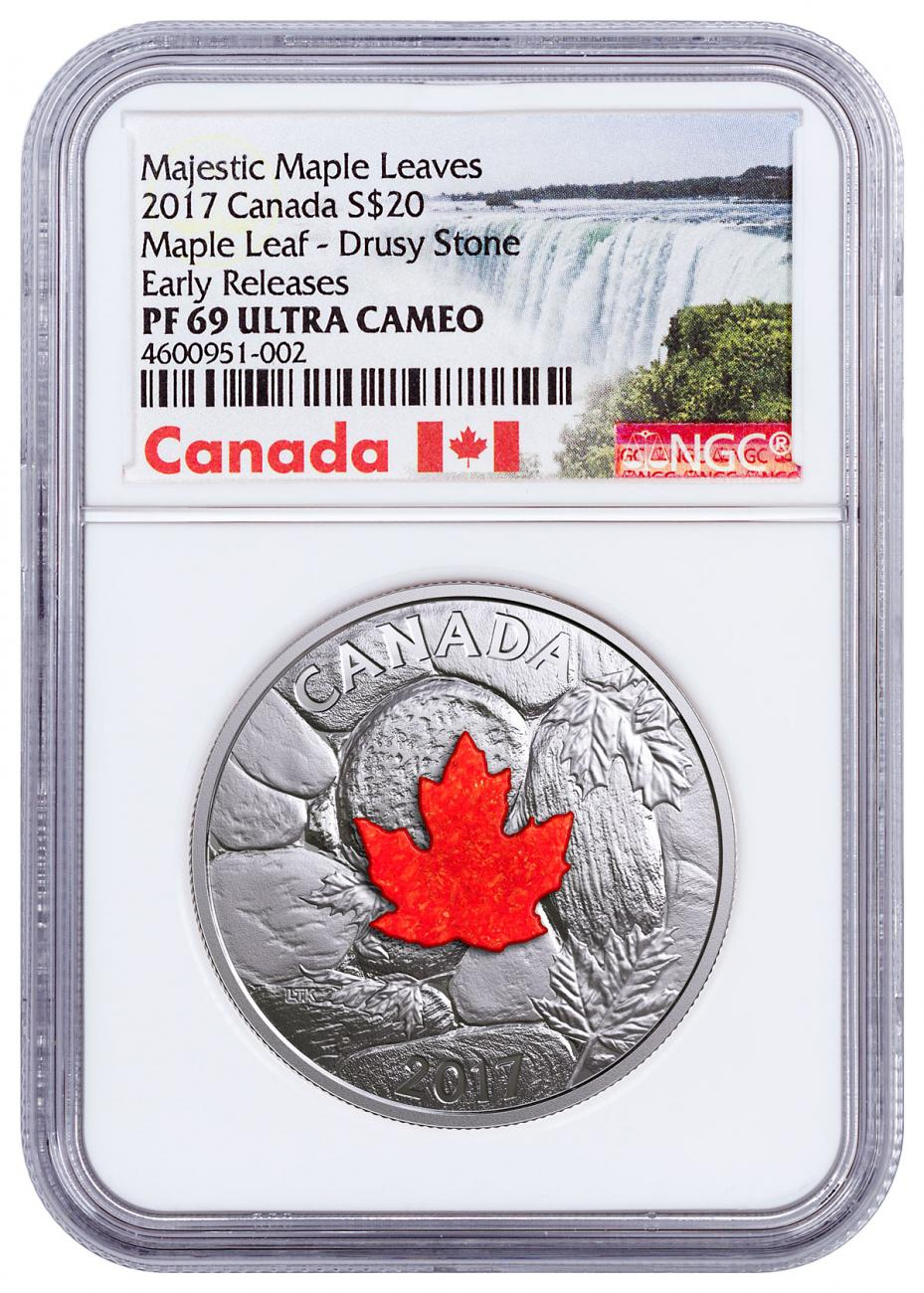 2017 Canada Majestic Maple Leaves - Drusy Stone 1 oz Silver Proof $20 Coin NGC PF69 UC ER Exclusive Canada Label