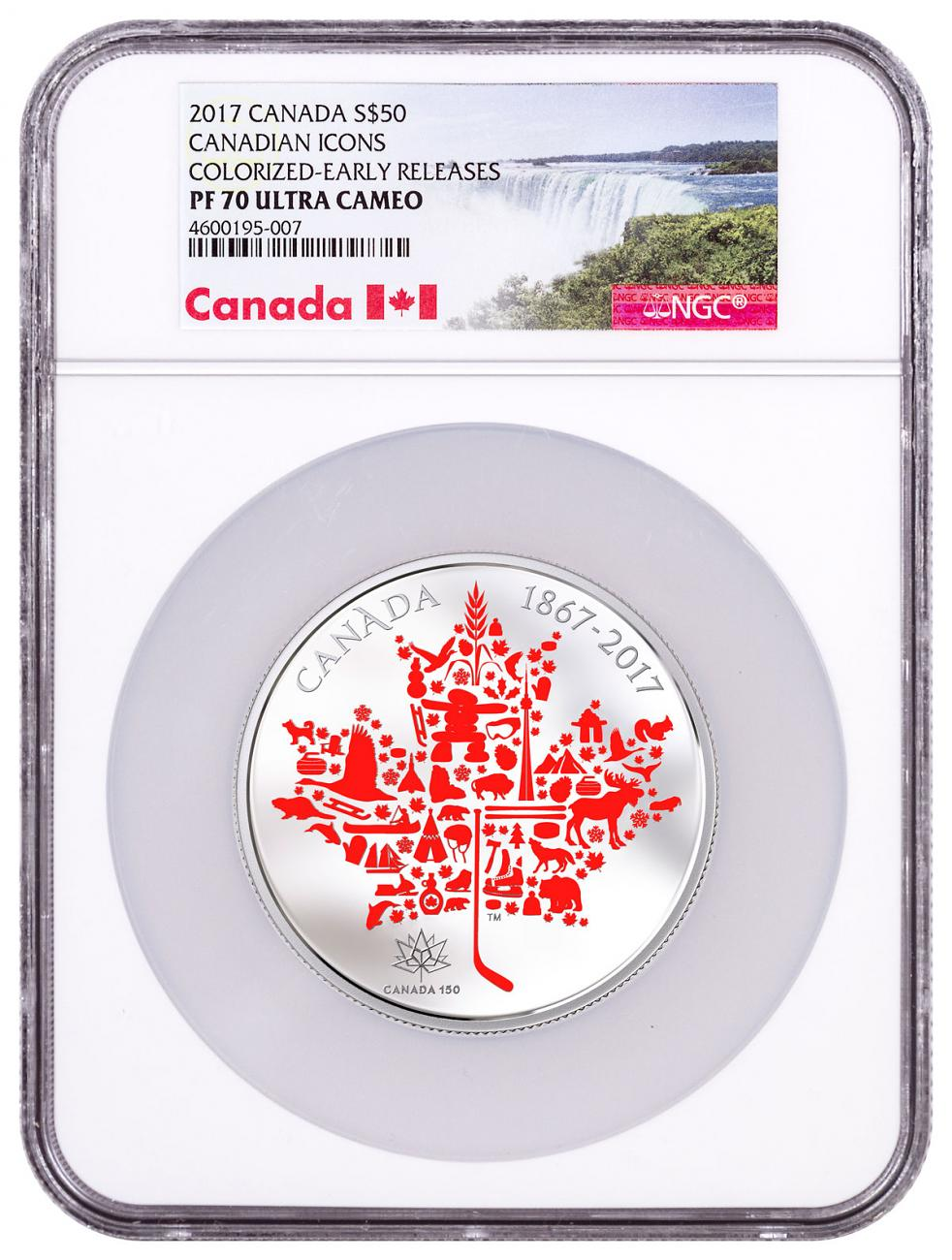 2017 Canadian Icons - Maple 5 oz Silver Colorized Proof $50 Coin NGC PF70 UC ER Exclusive Canada Label