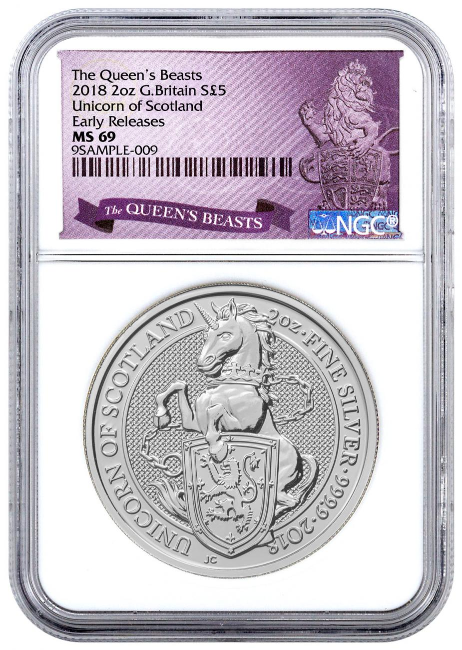 2018 Great Britain 2 oz Silver Queen's Beasts - Unicorn of Scotland £5 Coin NGC MS69 ER Exclusive Queens Beasts Label