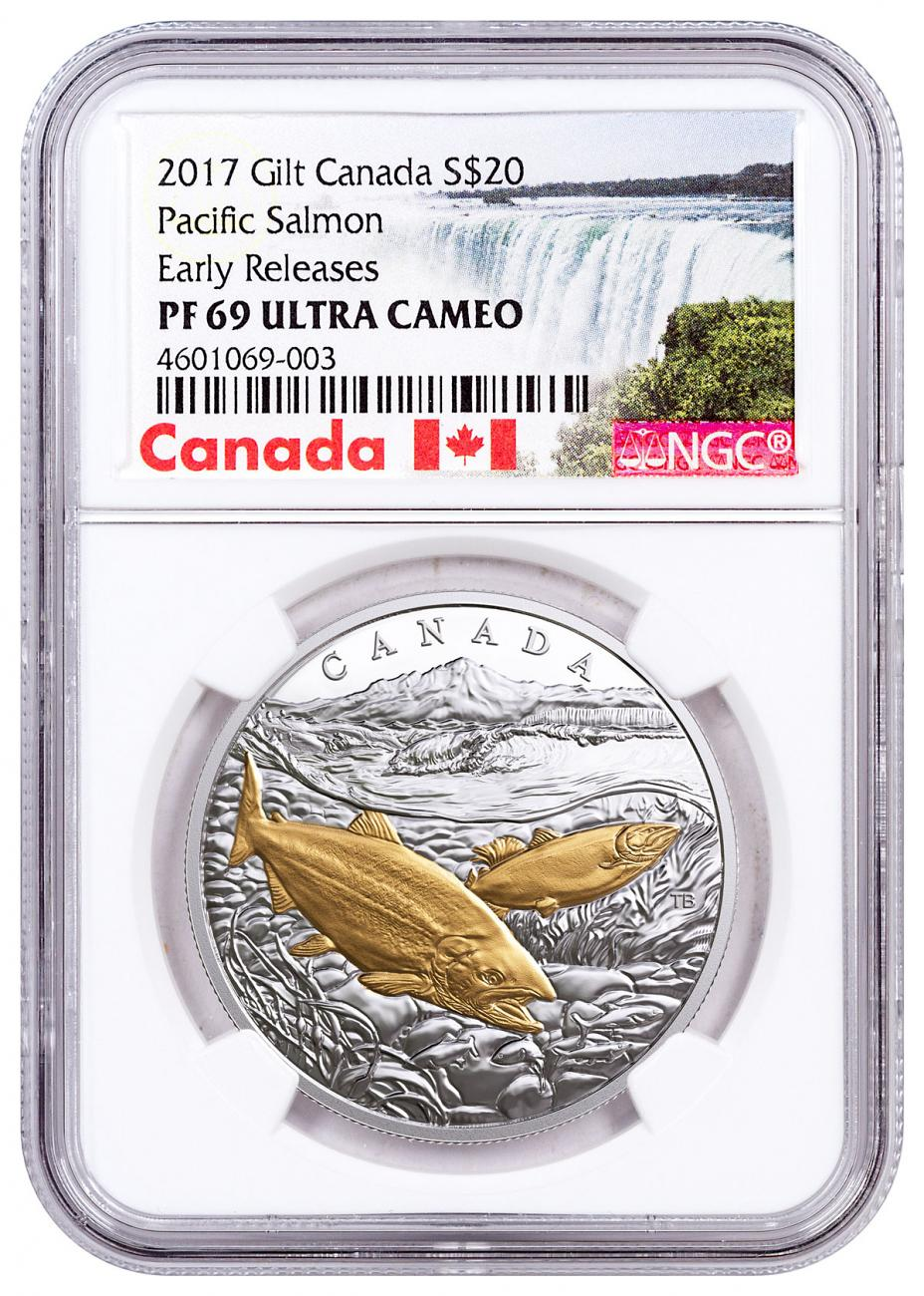 2017 Canada From Sea to Sea - Pacific Salmon 1 oz Silver Gilt Proof 20 Coin NGC PF69 UC ER Exclusive Canada Label
