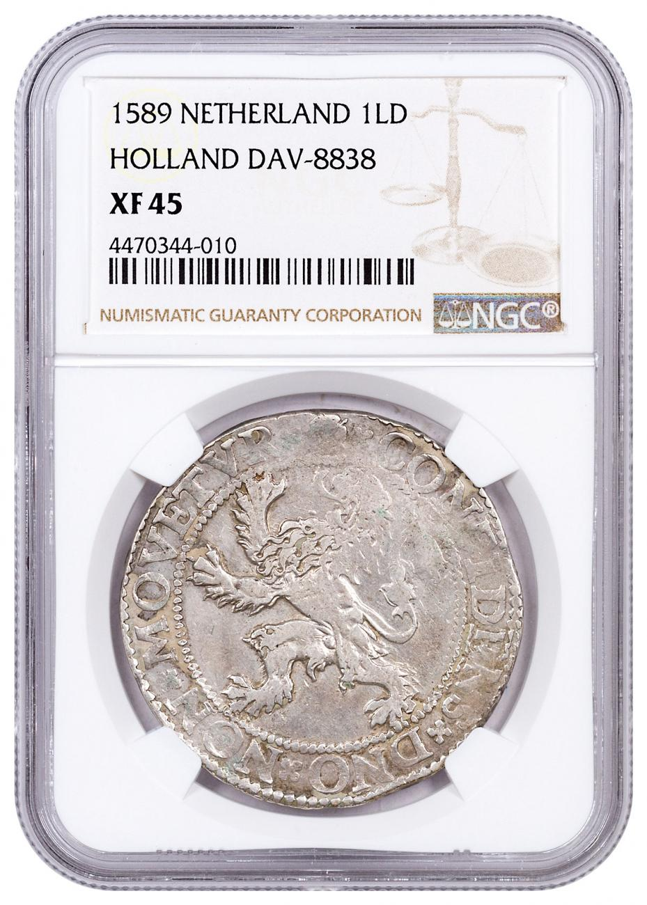 1589 Netherlands Silver New York Lion Dollar NGC XF45