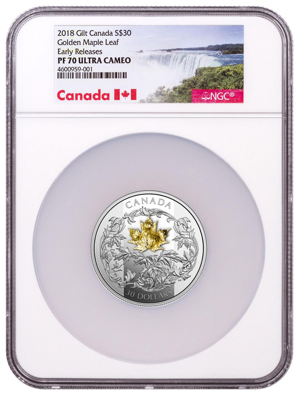 2018 Canada Golden Maple Leaf 2 oz Silver Gilt Proof $30 Coin NGC PF70 UC ER Exclusive Canada Label