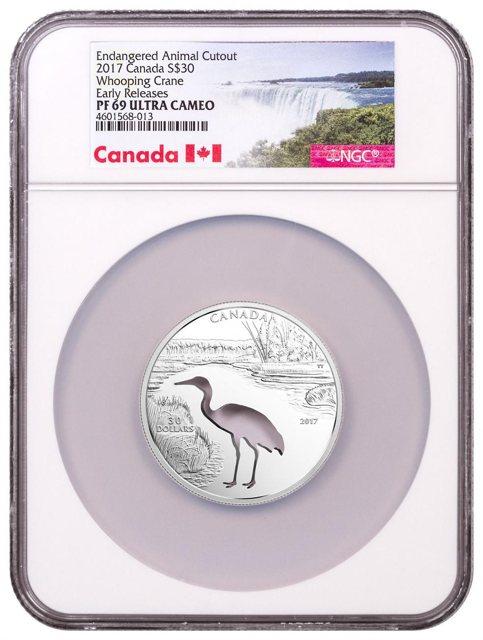 2017 Canada Endangered Animal Cutout - Whooping Crane Silver Proof $30 Coin NGC PF69 ER Exclusive Canada Label