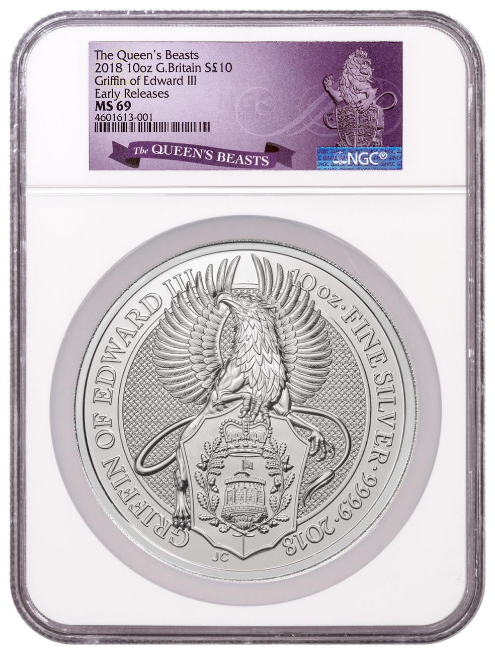 2018 Great Britain 10 oz Silver Queen's Beasts - The Griffin 10 Coin NGC MS69 ER Exclusive Queens Beasts Label