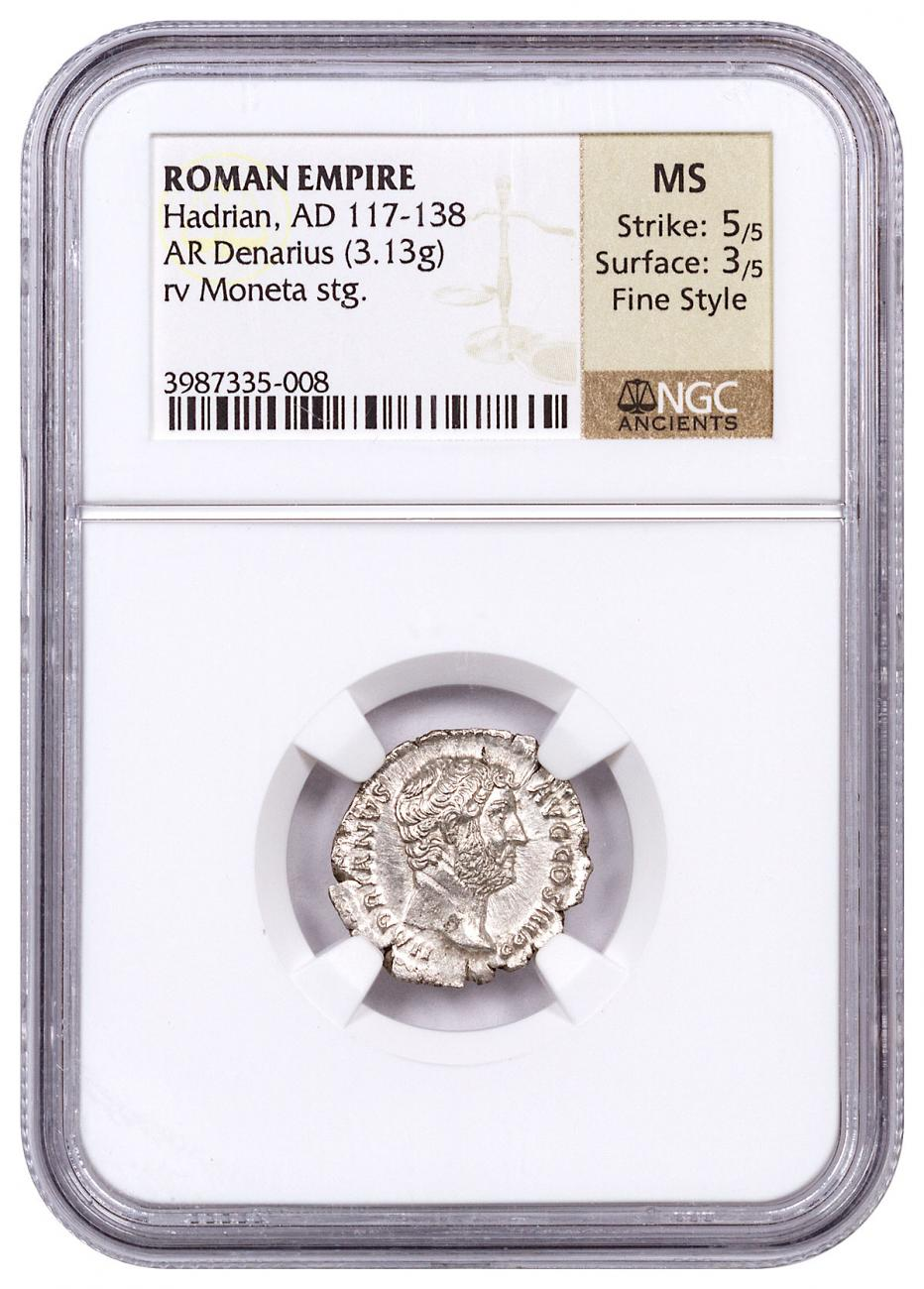 Roman Empire, Silver Denarius of Hadrian (AD 117-138) - obv. Bust/rv. Moneta NGC MS (Strike: 5/5, Surface: 3/5 - Fine Style)