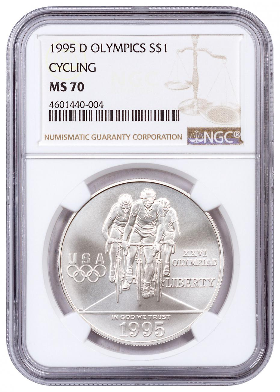1995-D Olympics - Cycling Commemorative Silver Dollar NGC MS70