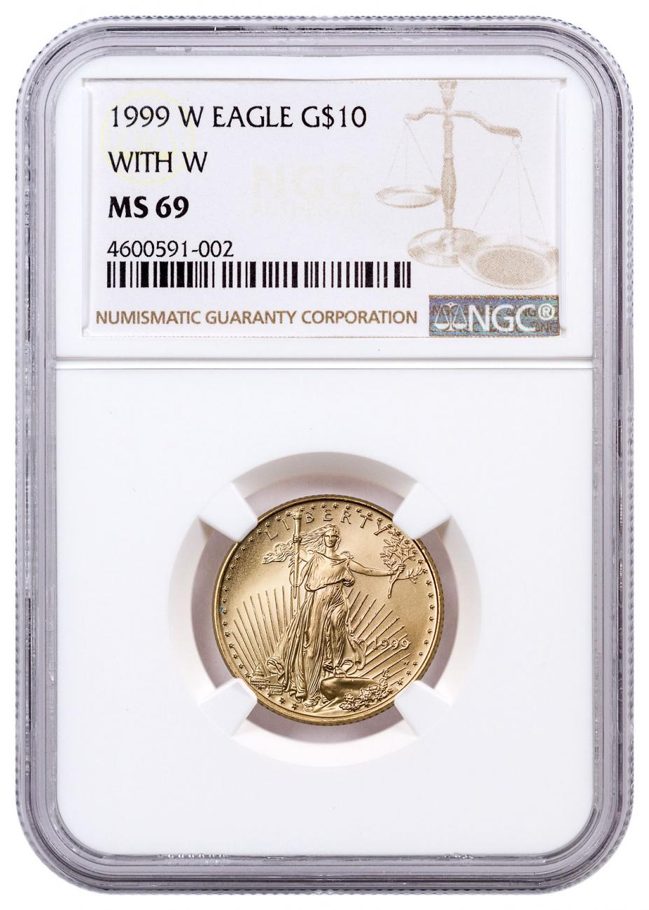 1999-W 1/4 oz Gold American Eagle $10 (Unfinished Proof Dies) Mint Error - Unfinished Dies NGC MS69
