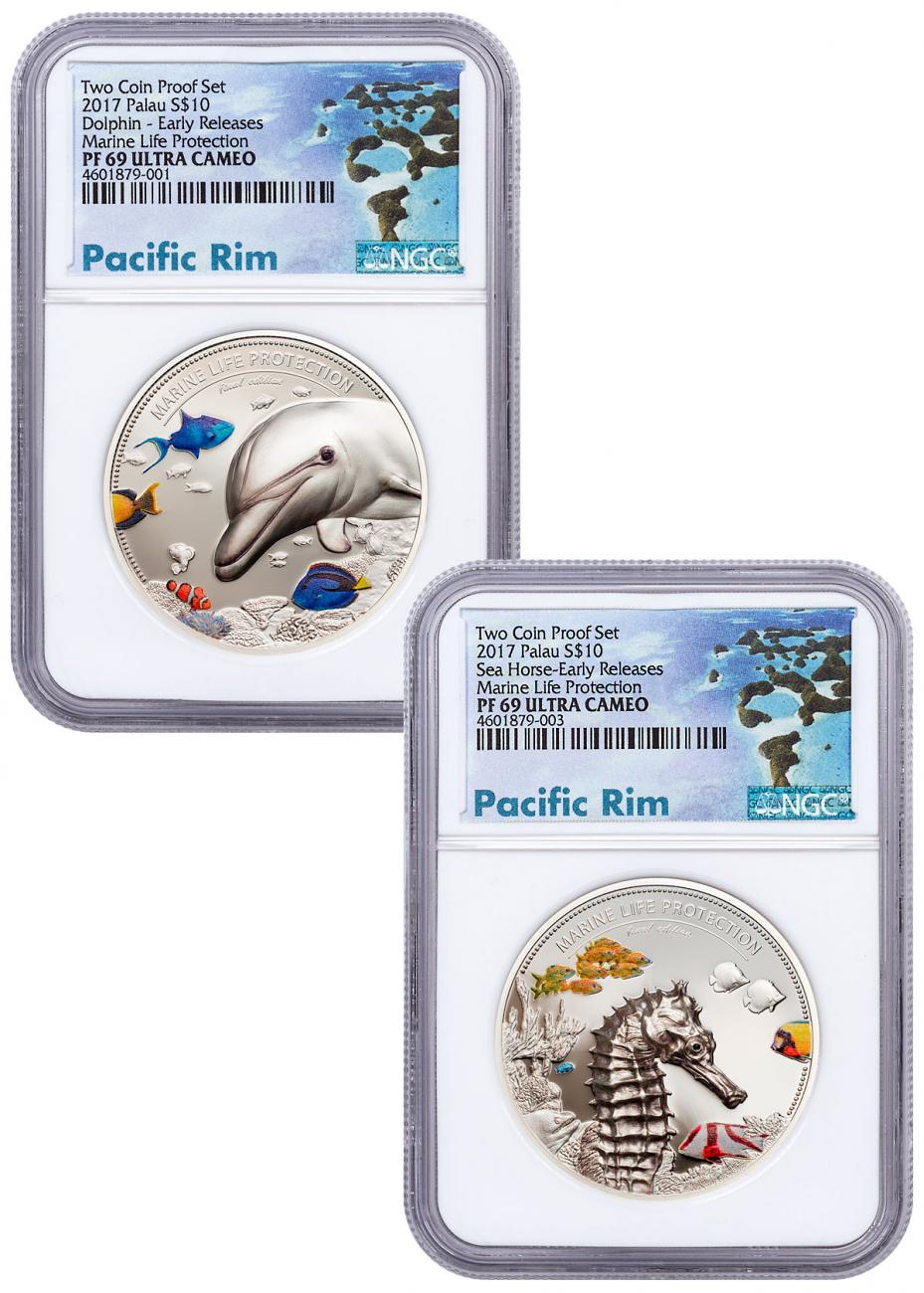 2-Coin Set - 2017 Palau Marine Life Protection - Seahorse and Dolphin High Relief Piedfort 1 oz Silver Colorized Proof $10 Coins NGC PF69 UC ER Exclusive Pacific Rim Label