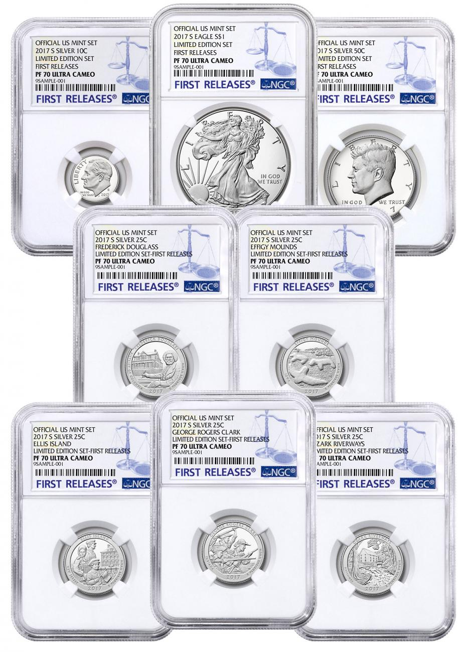 8-Coin Set - 2017-S U.S. Limited Edition Silver Proof Coins Set NGC PF70 UC FR