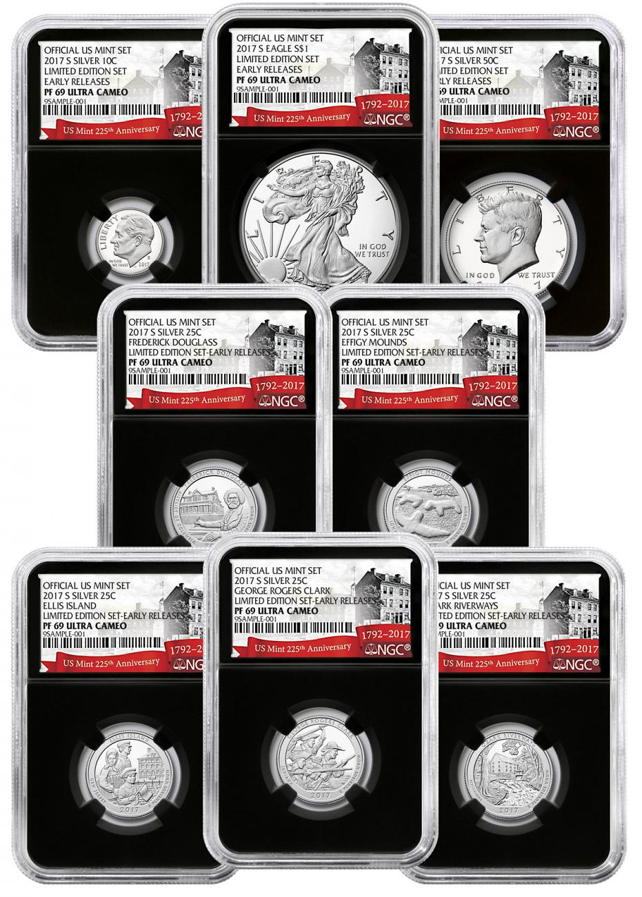 8-Coin Set - 2017-S U.S. Limited Edition Silver Proof Coins Set NGC PF69 UC ER Black Core Holder Exclusive U.S. Mint 225th Anniversary Label