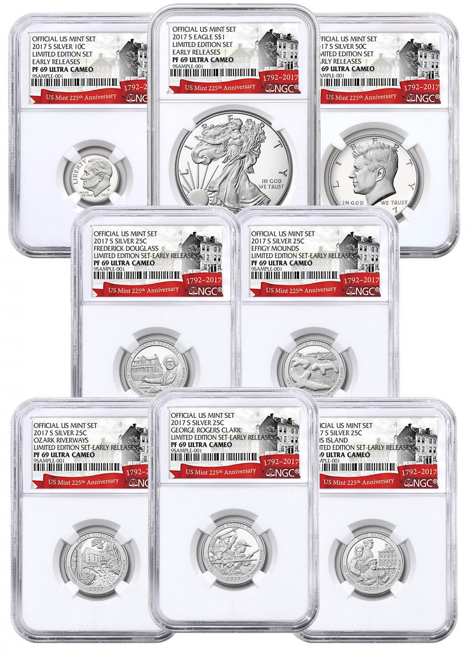 8-Coin Set - 2017-S U.S. Limited Edition Silver Proof Coins Set NGC PF69 UC ER Exclusive U.S. Mint 225th Anniversary Label