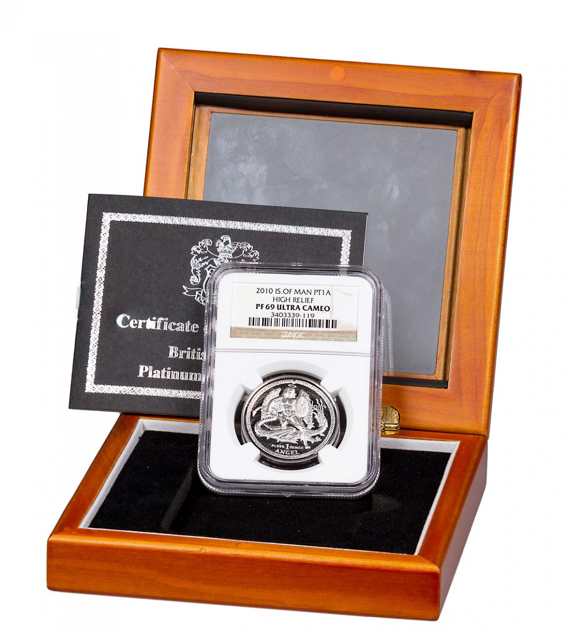 2010 Isle of Man 1 oz High Relief Platinum Angel Proof Coin NGC PF69 UC