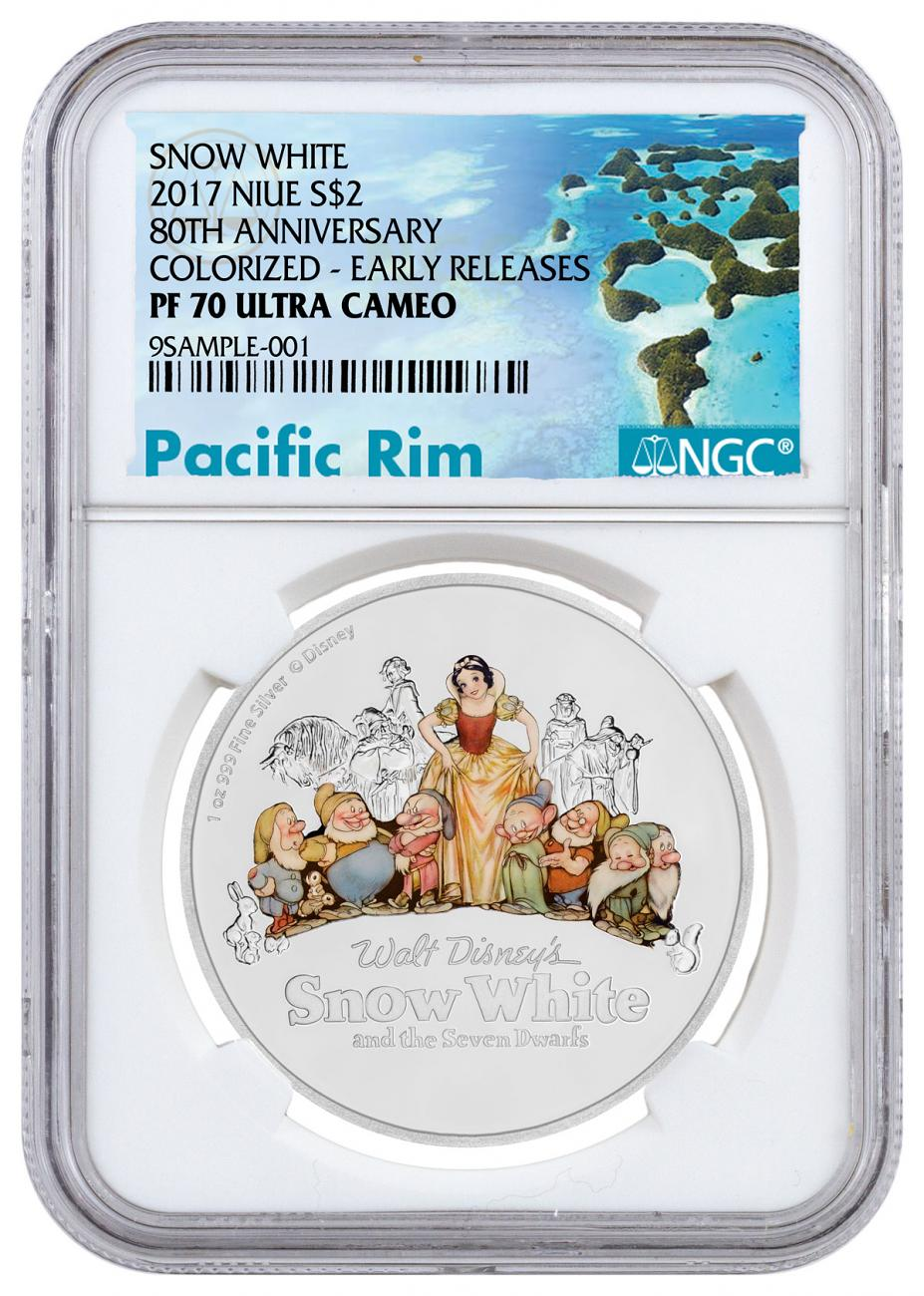 2017 Niue Disney Classics - Snow White 80th Anniversary 1 oz Silver Colorized Proof $2 Coin NGC PF70 UC ER Exclusive Pacific Rim Label