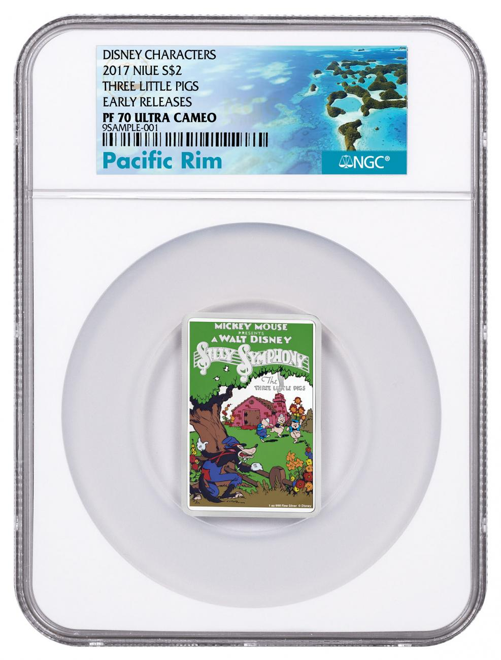 2017 Niue Disney Posters of the 1930s - Three Little Pigs Rectangle 1 oz Silver Colorized Proof $2 Coin NGC PF70 UC ER Exclusive Pacific Rim Label