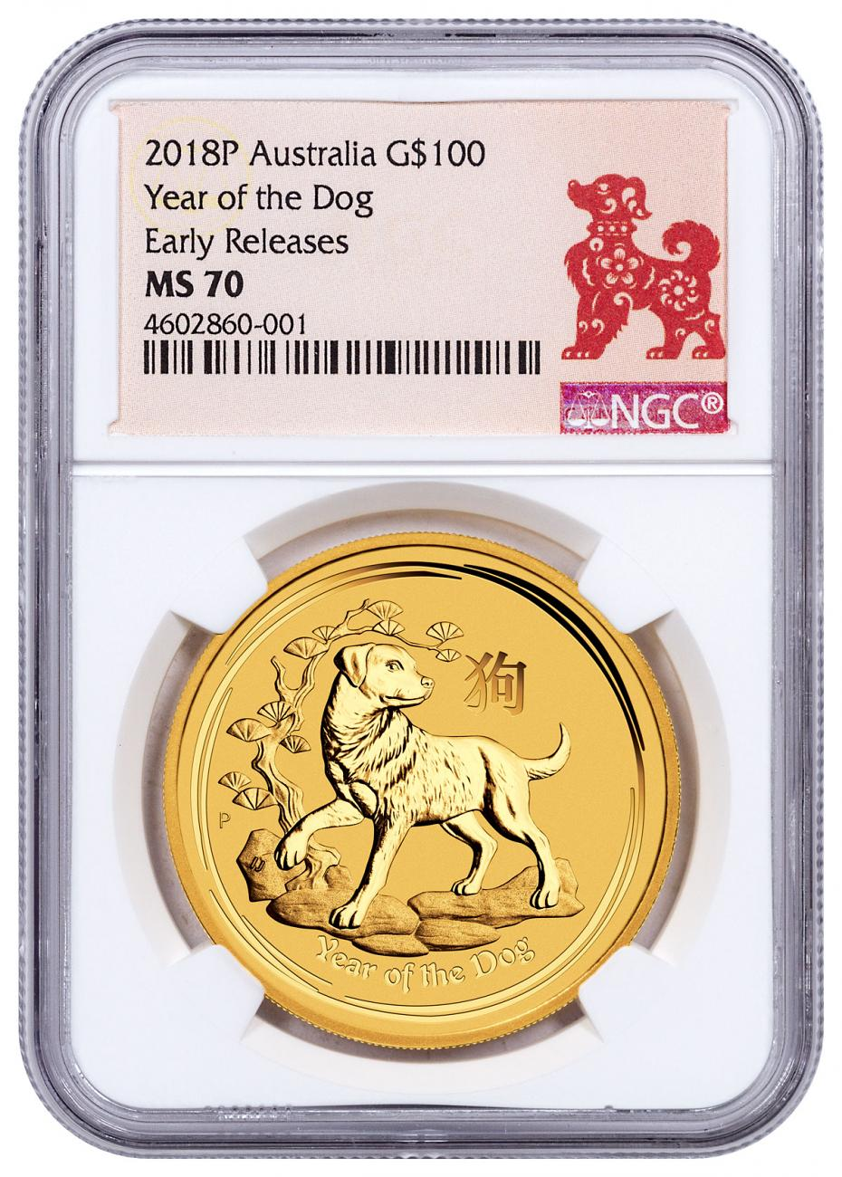 2018-P Australia Year of the Dog 1 oz Gold Lunar (Series 2) $100 Coin NGC MS70 ER Year of the Dog Label