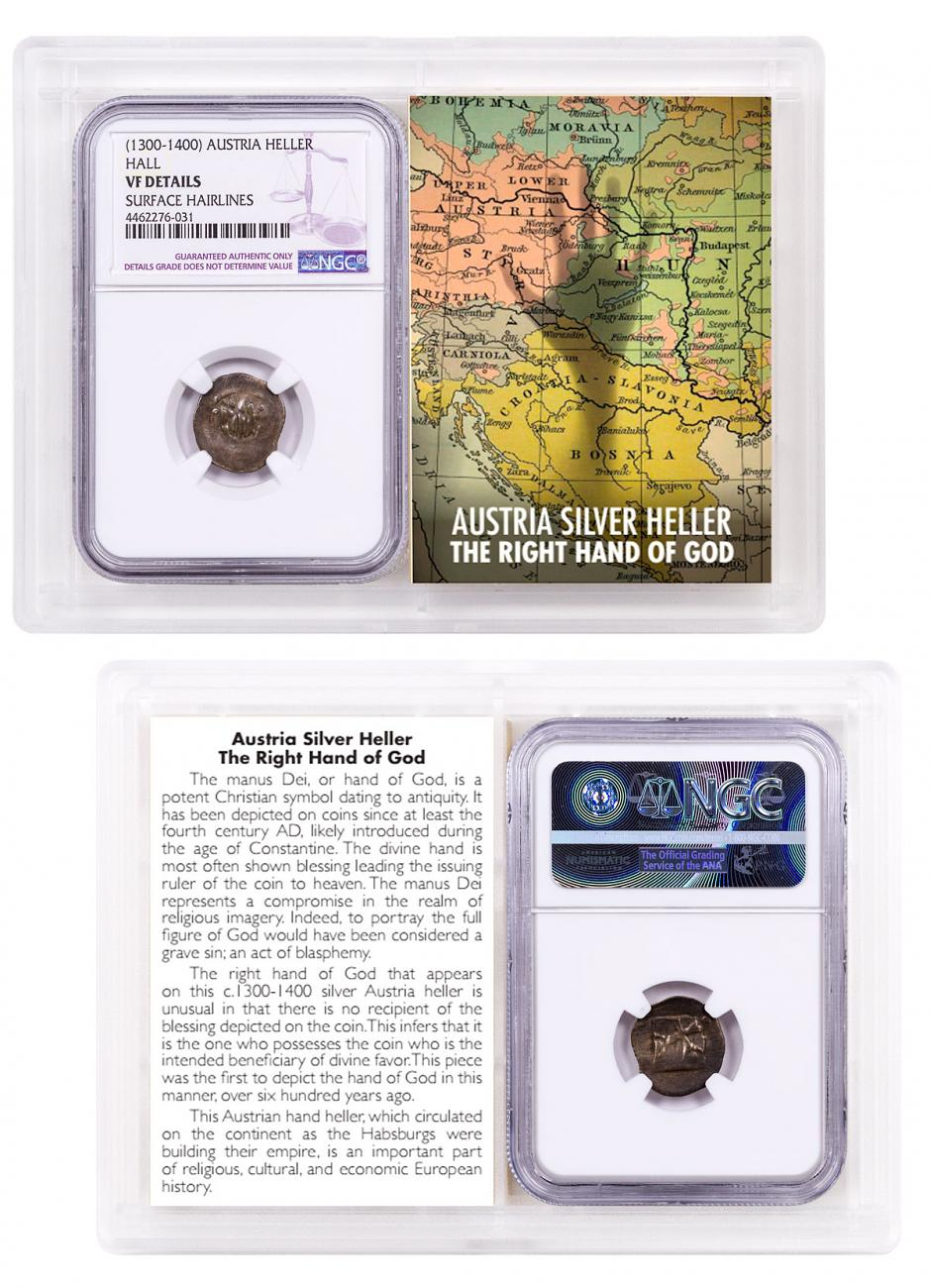 1300-1400 Austria Hall Silver Hand Heller NGC VF Details Story Vault
