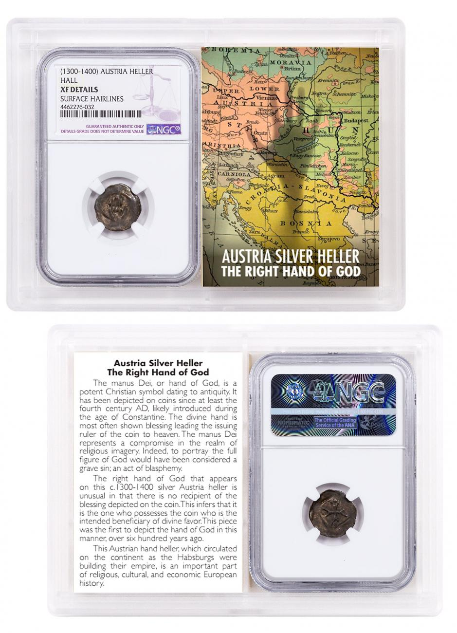 1300-1400 Austria Hall Silver Hand Heller NGC XF Details Story Vault