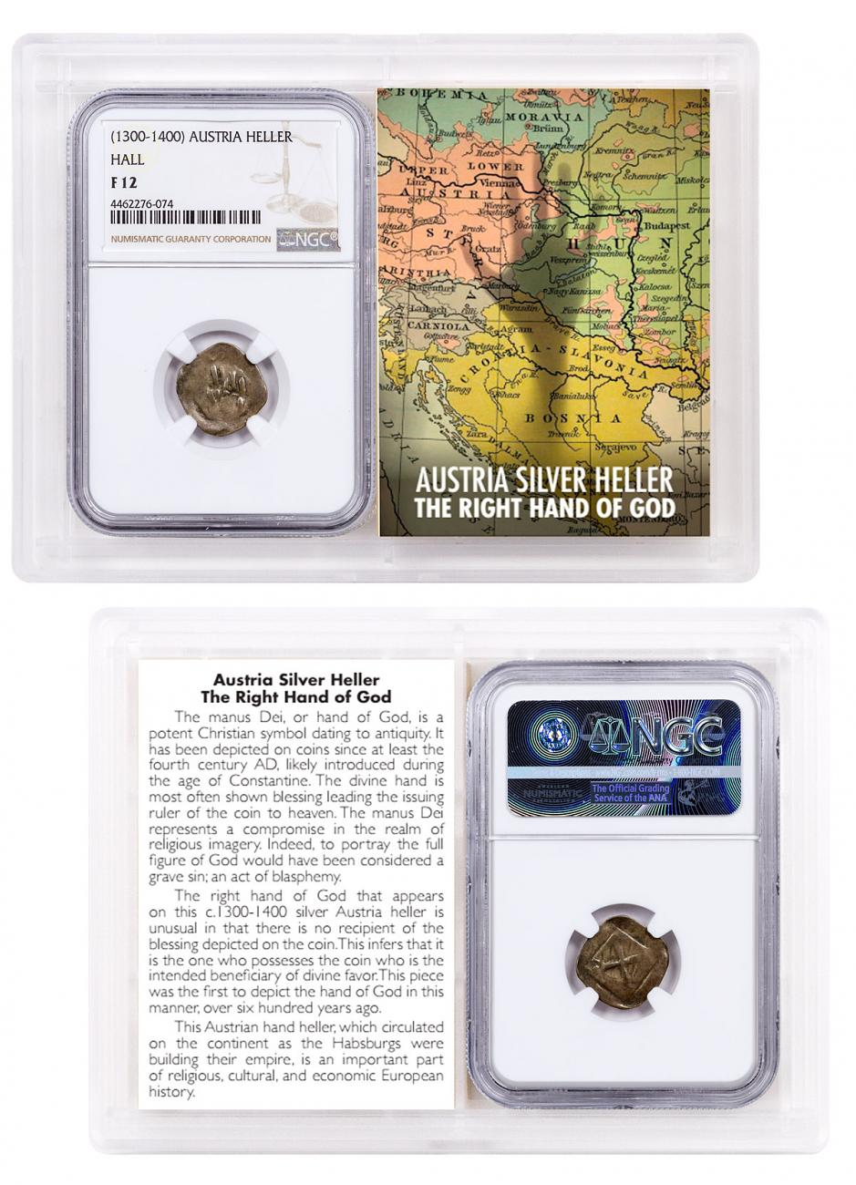 1300-1400 Austria Hall Silver Hand Heller NGC F12 Story Vault