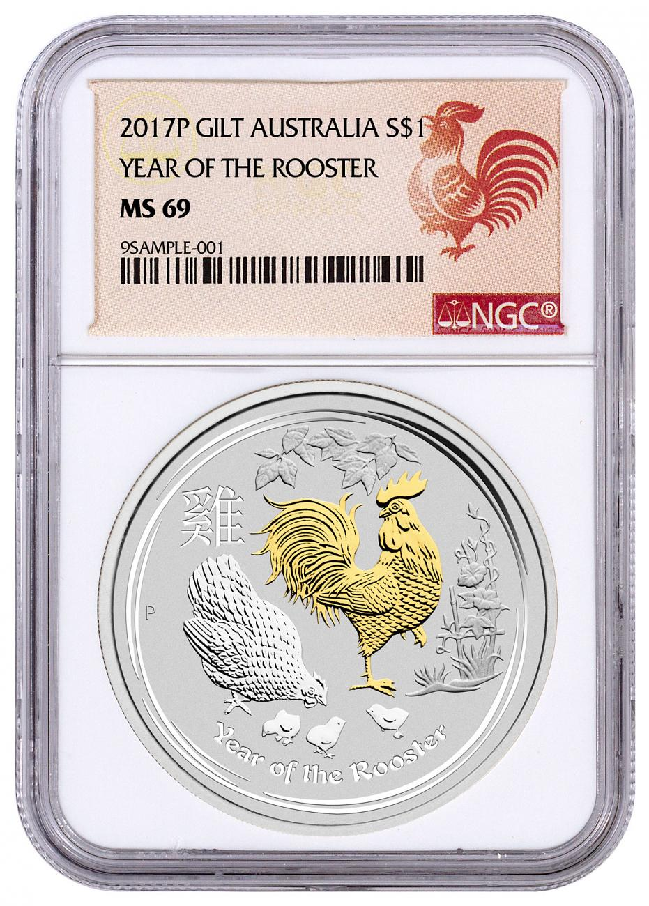 2017 Australia Year of the Rooster 1 oz Silver Lunar (Series 2) Gilt Proof $1 Coin NGC MS69 Rooster Label