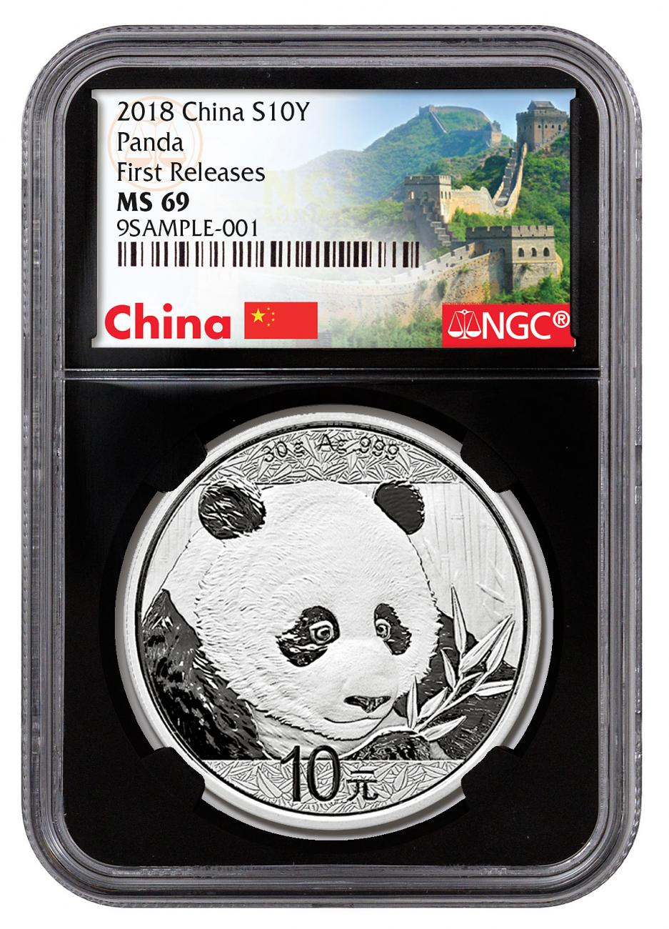 2018 China 30 g Silver Panda - 35th Anniversary ¥10 Coin NGC MS69 FR Black Core Holder Exclusive Great Wall Label