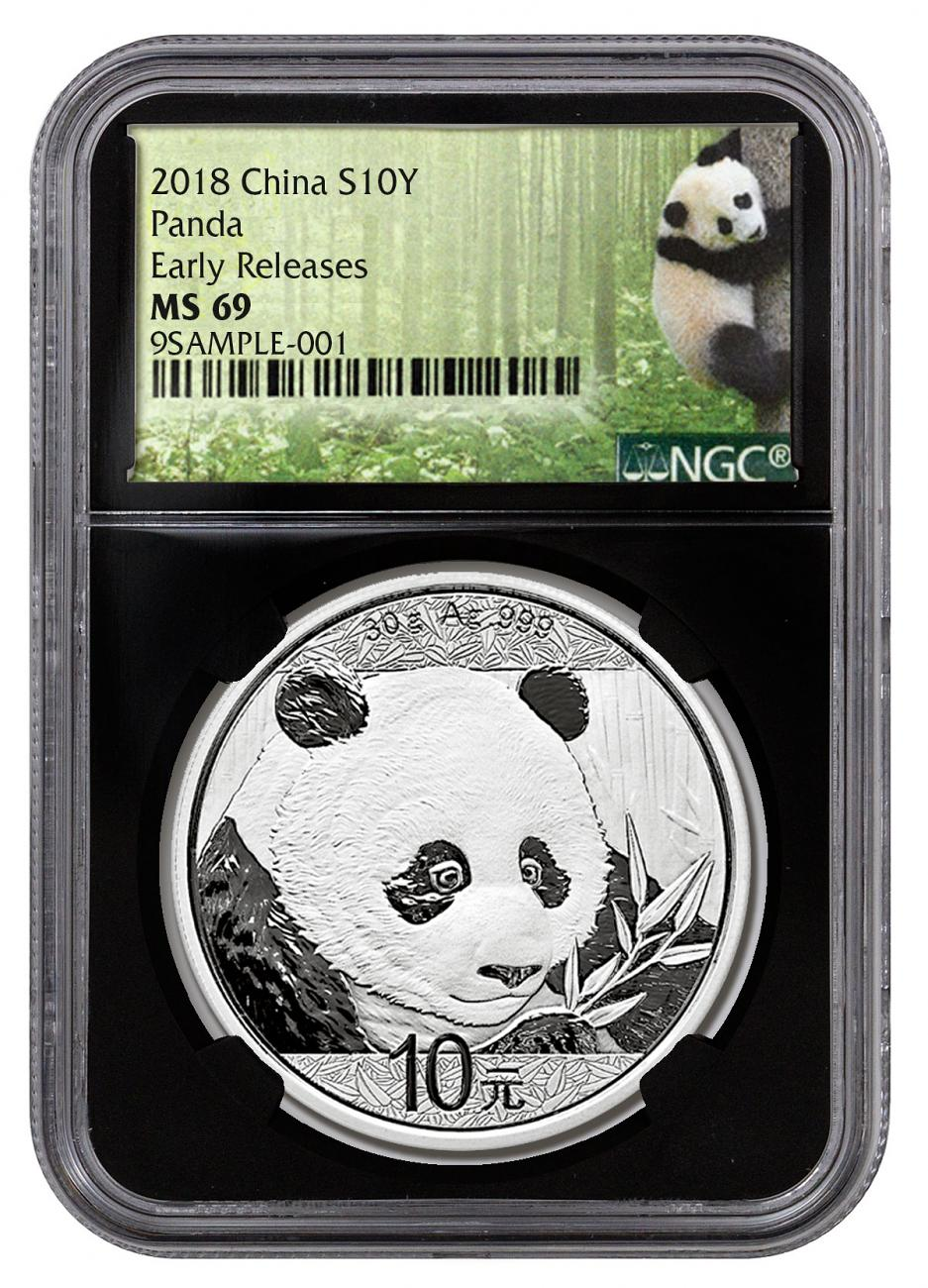 2018 China 30 g Silver Panda - 35th Anniversary ¥10 Coin NGC MS69 ER Black Core Holder Exclusive Panda Label
