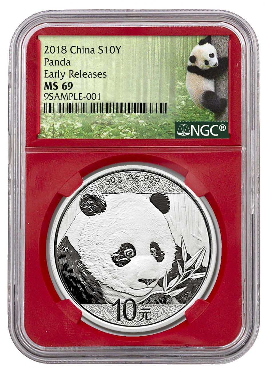 2018 China 30 g Silver Panda - 35th Anniversary ¥10 Coin NGC MS69 ER Red Core Holder Exclusive Panda Label