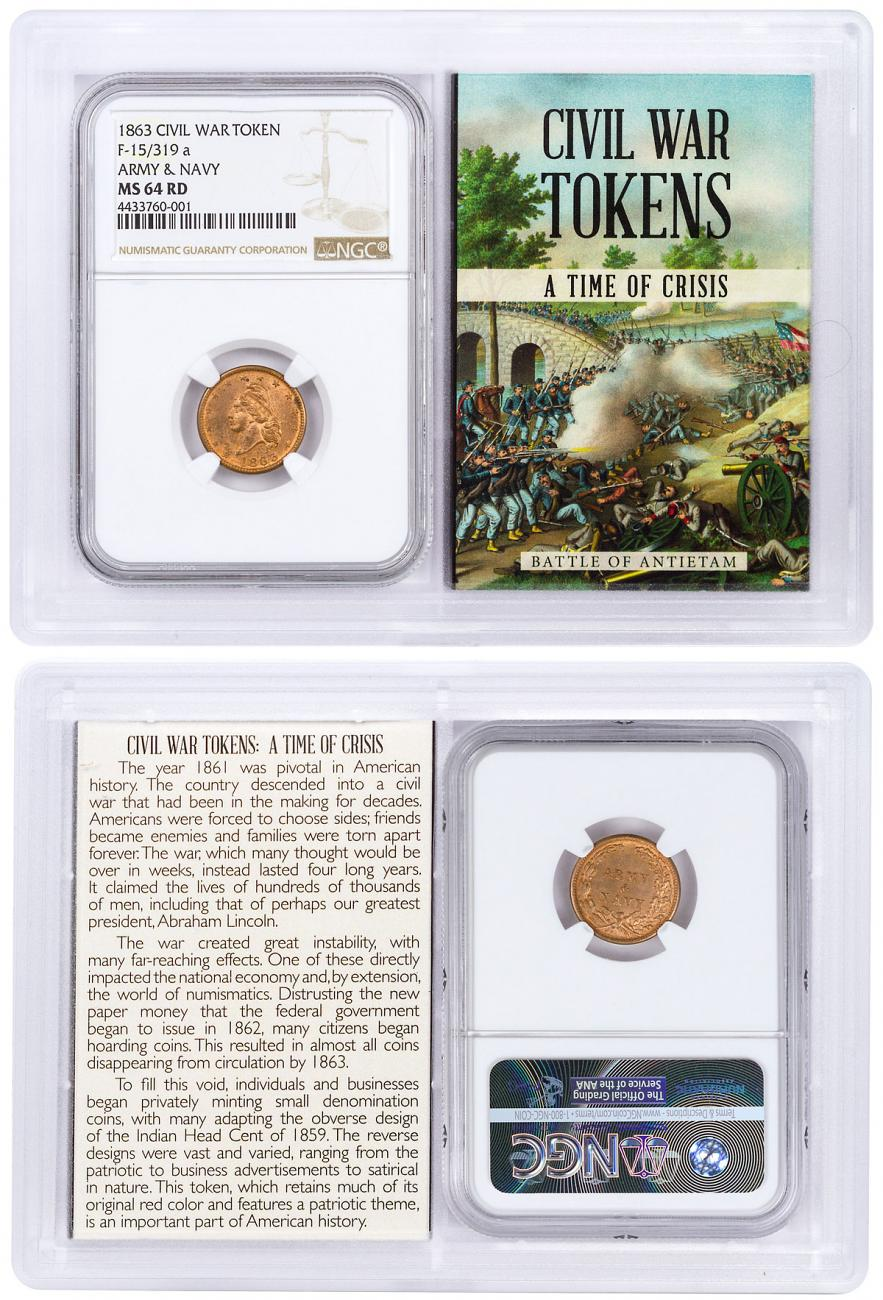 1863 United States Army & Navy Civil War Token NGC MS64 RD In Story Vault Holder