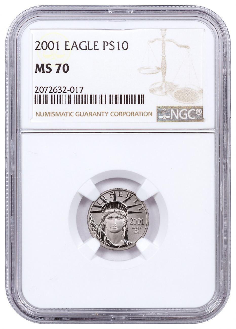 2001 1/10 oz Platinum American Eagle $10 NGC MS70