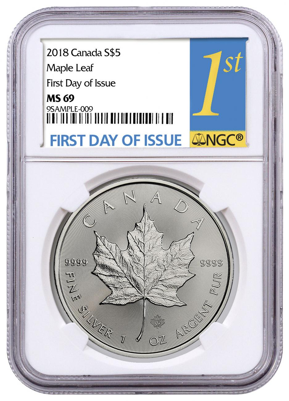 2018 Canada 1 oz Silver Maple Leaf $5 Coin NGC MS69 FDI