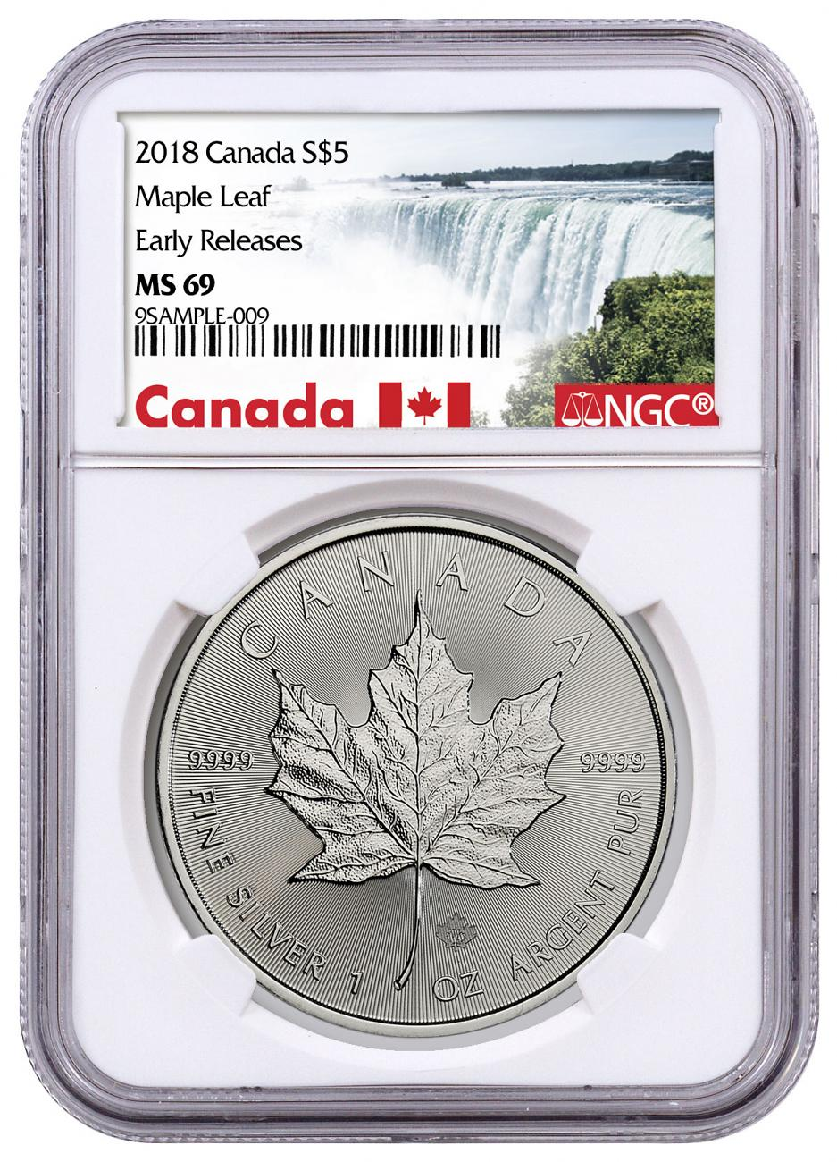 2018 Canada 1 oz Silver Maple Leaf $5 Coin NGC MS69 ER Exclusive Canada Label