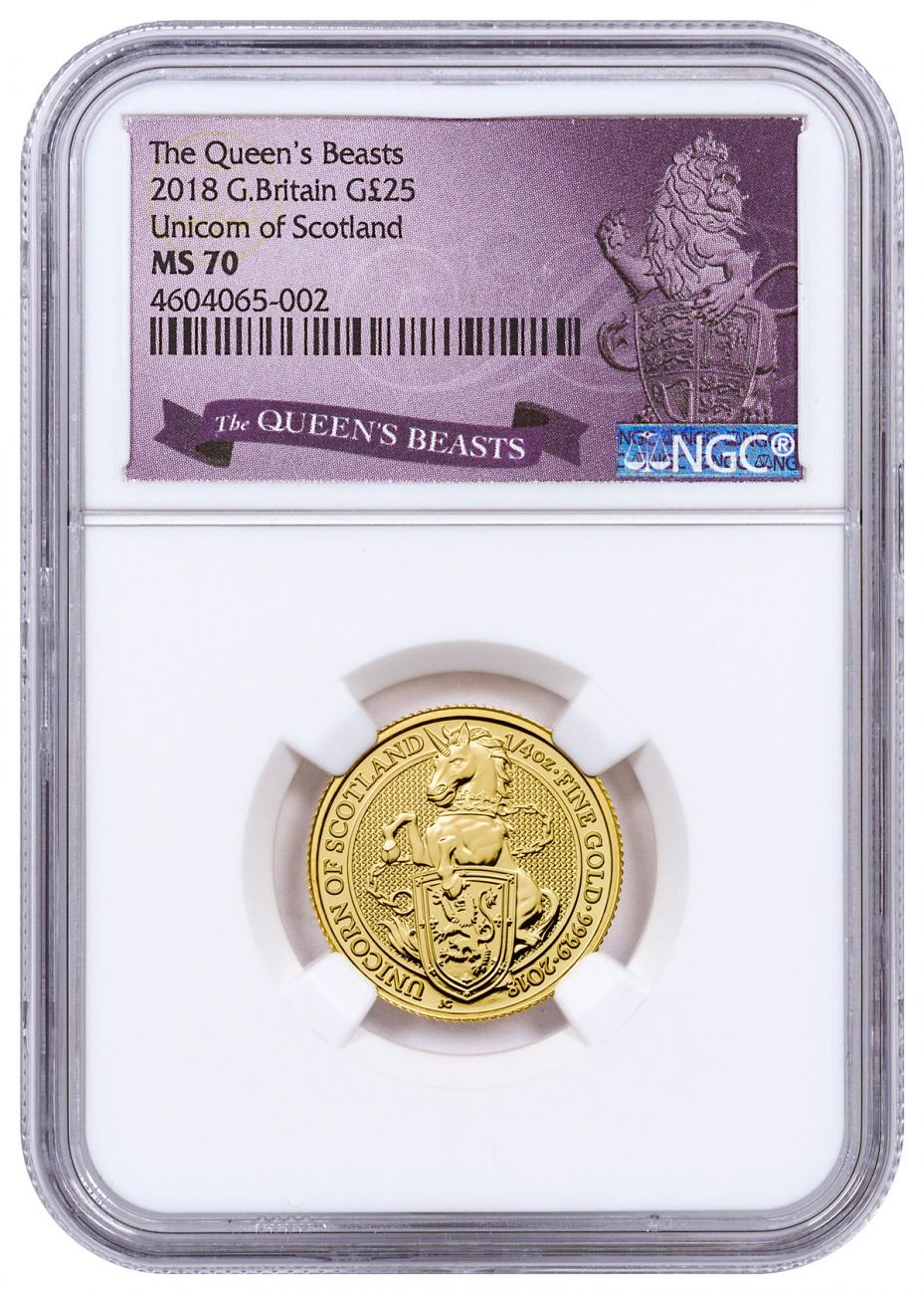 2018 Great Britain 1/4 oz Gold Queen's Beasts - The Unicorn of Scotland £25 Coin NGC MS70 Exclusive Queens Beasts Label