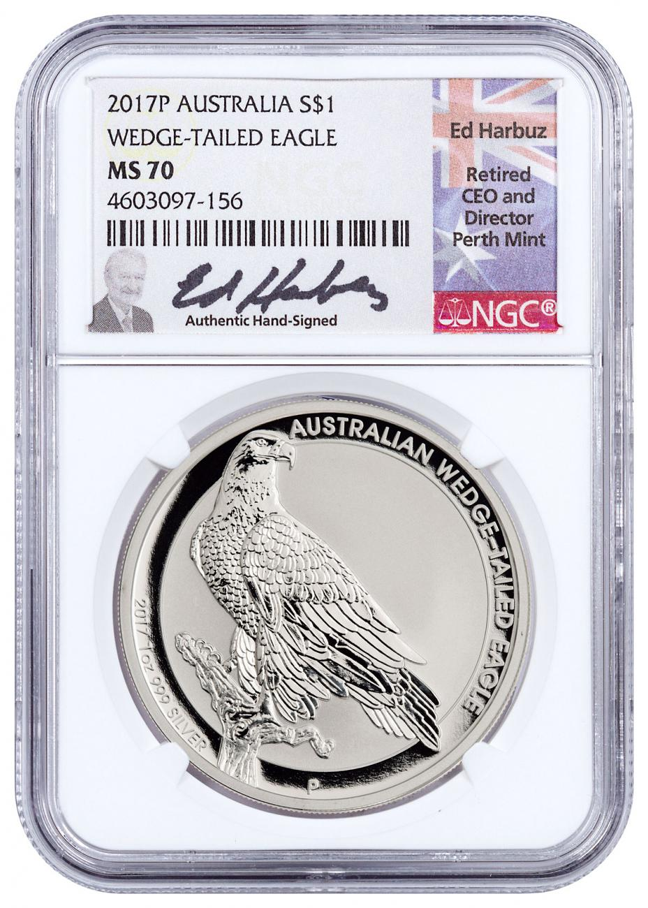 2017-P Australia 1 oz Silver Wedge-Tailed Eagle $1 Coin NGC MS70 Harbuz Signed Label