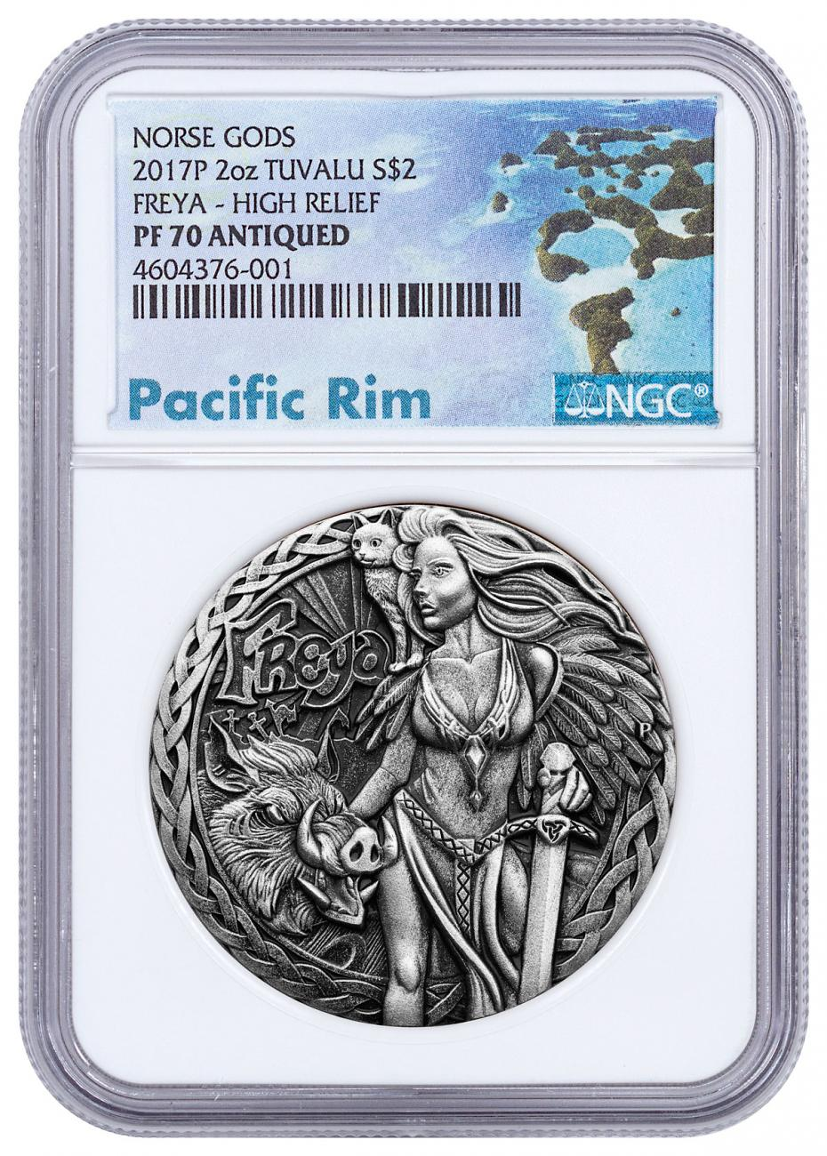 2017-P Tuvalu Norse Goddesses - Freya High Relief 2 oz Silver Antiqued $2 Coin NGC PF70 Exclusive Pacific Rim Label