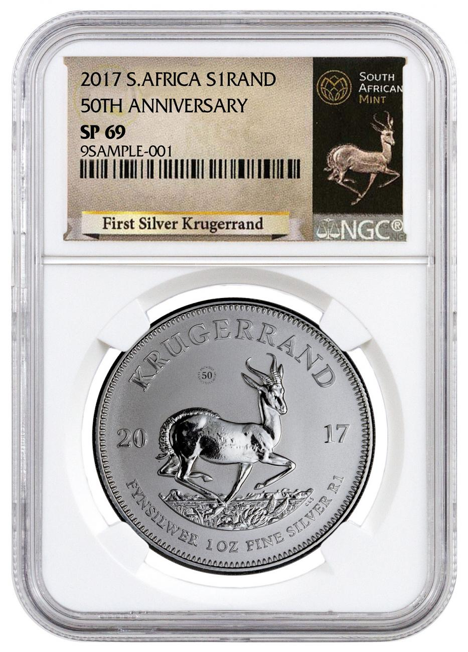 2017 South Africa 1 oz Silver Krugerrand Premium Uncirculated Coin NGC SP69 (Exclusive Krugerrand Label)