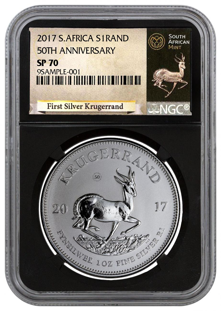 2017 South Africa 1 oz Silver Krugerrand Premium Uncirculated Coin NGC SP70 (Black Core Holder - Exclusive South Africa Label)