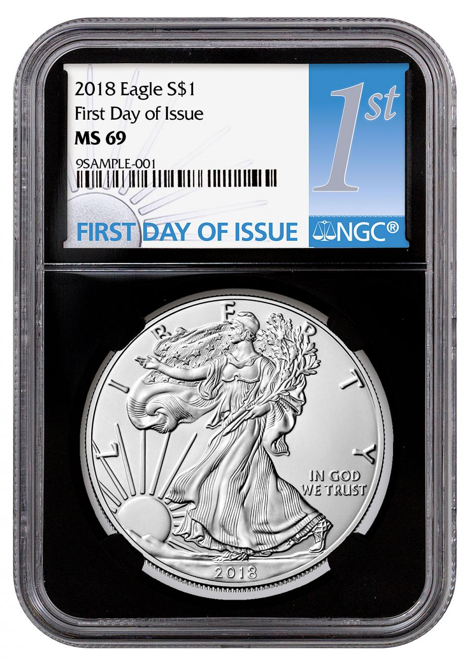 2018 American Silver Eagle NGC MS69 FDI Black Core Holder