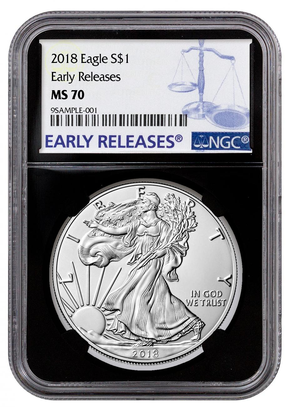 2018 American Silver Eagle NGC MS70 ER Black Core Holder