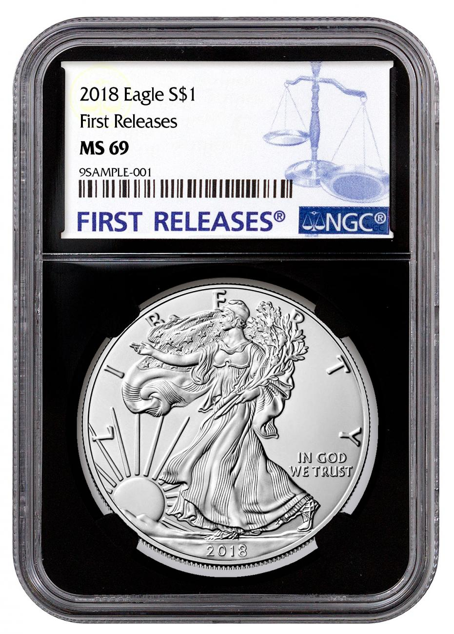 2018 American Silver Eagle NGC MS69 FR Black Core Holder