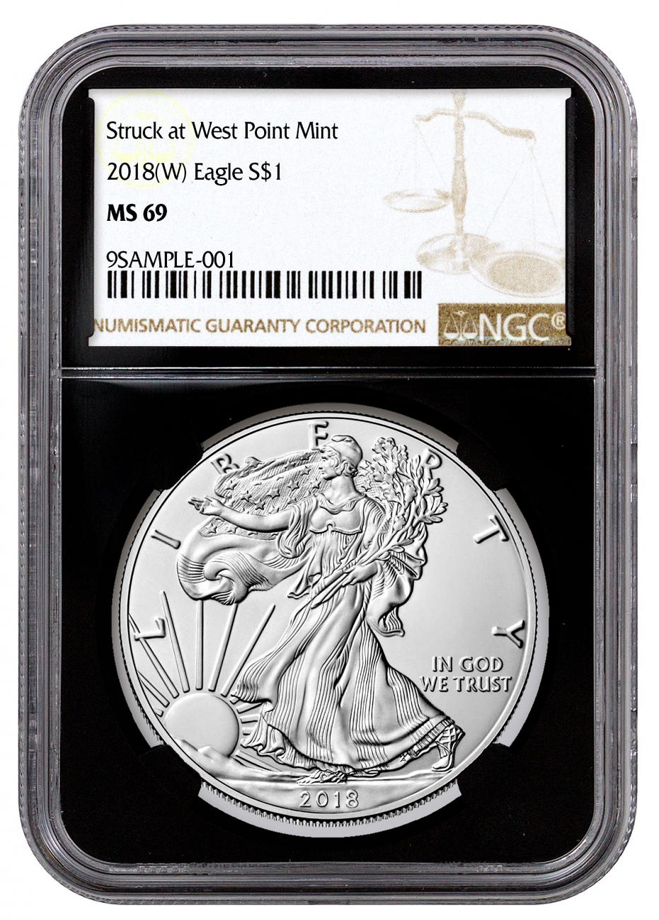 2018-(W) American Silver Eagle Struck at West Point NGC MS69 Black Core Holder Brown Label